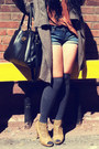 Charcoal-gray-above-the-knee-legs-beautiful-socks-burnt-orange-forever-21-top