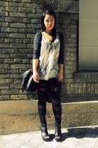 black mesh bandage Tayler leggings - gray 5 way to wear Vero Moda cardigan