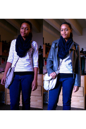 white shirt - blue jeans - charcoal gray jacket - navy scarf - off white bag
