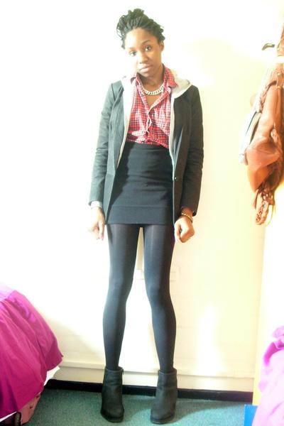 black Zara blazer - gray H&M sweater - red Uniqlo shirt - black Topshop tights -