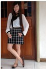 White-kashieca-top-black-f21-skirt-gold-parfois-belt-black-f21-flats
