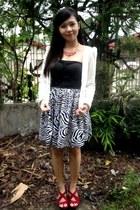 brick red Celine wedges - black zebra print Corsets Republique dress