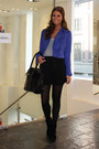 Blue-jacket-black-shorts