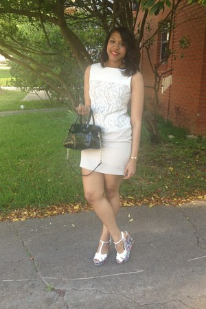 white Steve Madden shoes - white Romwecom dress - black Steve Madden bag