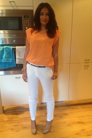 orange blouse - ivory pants
