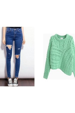 knit Choies sweater - Choies jeans