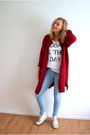 Light-blue-lidl-jeans-white-hema-shirt-ruby-red-knit-yesstyle-cardigan