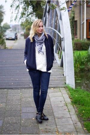 black cut out Choies shoes - navy H&M jeans - navy Lacoste jacket