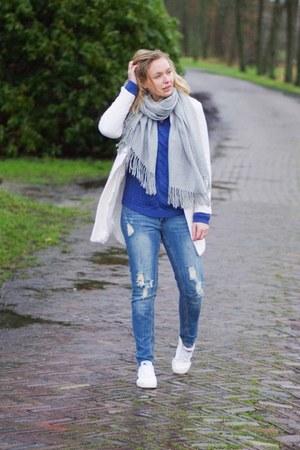 white white Yesstyle coat - blue denim WE fashion jeans