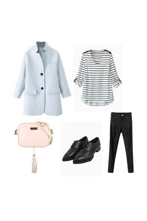 black Choies jeans - Choies shoes - light blue Choies coat - black Choies shirt