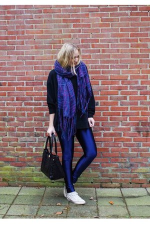 black sweatshirt Choies sweater - purple chunky Sevenbien scarf