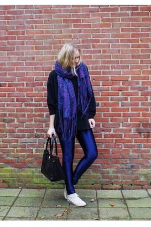 black sweatshirt Choies sweater - purple chunky Sevenbien scarf