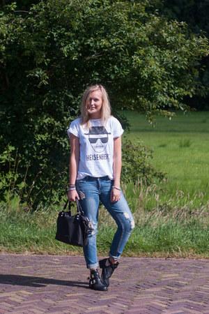 black cut out boots Choies shoes - light blue WE fashion jeans