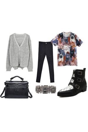 Choies shirt - Choies boots - Choies jeans - Choies bag - Choies bracelet