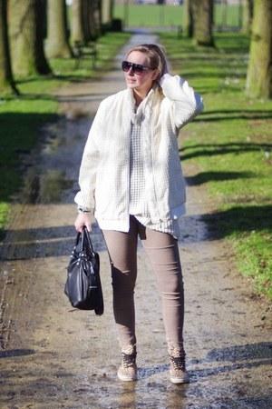 white knit Only sweater - cream bomber Yesstyle jacket