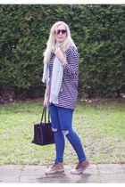 black blouse LWS shirt - blue jeggings pieces jeans