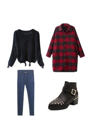 Choies boots - Choies coat - Choies jeans - Choies sweater