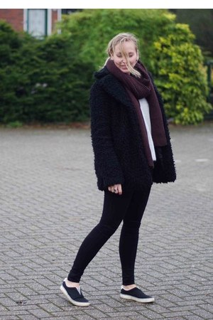 black slipons Ebay shoes - black teddy Sevensisters london coat