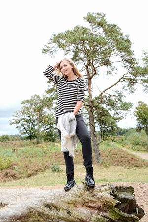 black black Topshop boots - black striped Miss Etam shirt - gray Miss Etam pants