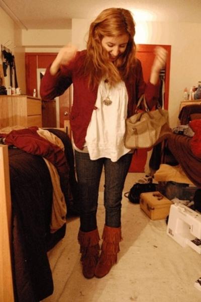 Minnetonka shoes - jeans - jacket - forever 21 shirt - Fendi bag