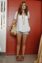 forever 21 shirt - self cut abercrombie jeans shorts - Carpisa purse - Rack room