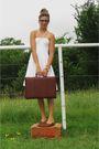 White-calvin-klein-dress-brown-dkny-blazer-red-accessories-brown-shoes