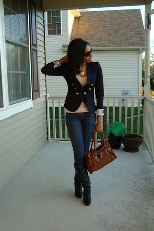 H&M blazer - Spring boots - H&M bag - H&M necklace - H&M top