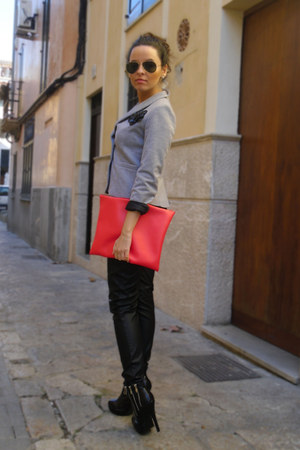 red My collection bag - black gift boots - silver Zara blazer