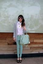 collar necklace necklace - mint jeans jeans - mint satchel FE bag