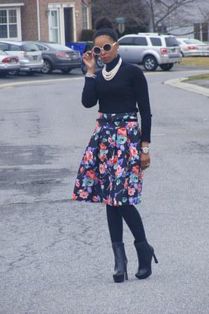 floral skirt Express skirt - Guess boots