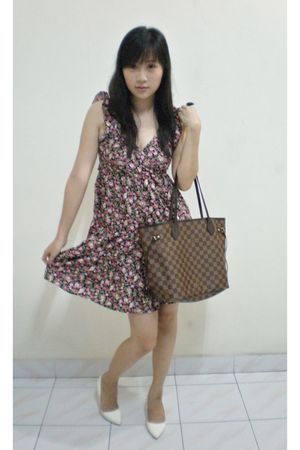 red pparazi dress - white Charles & Keith shoes - brown Louis Vuitton purse