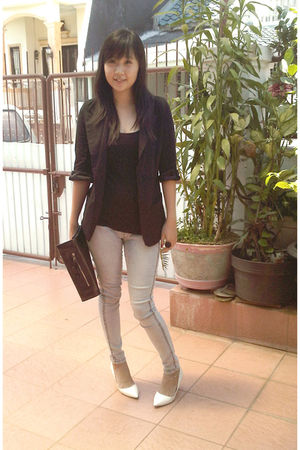 black Zara blazer - black Zara top - blue random jeans - white Charles & Keith s