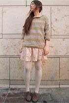 beige Zara sweater - tan Forever21 shoes - neutral Forever21 dress