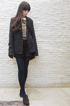 gray Forever 21 blazer - navy tights - dark brown vintage flats