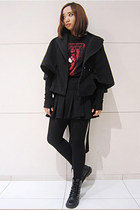 black vintage boots - brick red Zara t-shirt - black vintage skirt