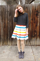 ivory striped modcloth dress - gray modcloth boots