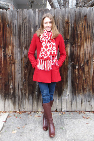 red Delias coat - brown Cole Haan boots - navy madewell jeans