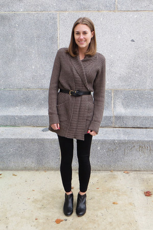 brown modcloth cardigan - black sam edelman boots - black JCrew pants