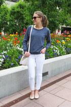 white Loft jeans - white & other stories bag - beige JCrew flats