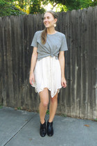ivory American Eagle dress - sam edelman boots - heather gray madewell t-shirt