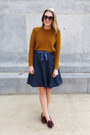 Gold-madewell-sweater-navy-polka-dot-modcloth-skirt