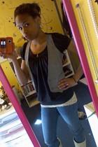 silver vest - blue jeans - black blouse - beige boots - beige shirt