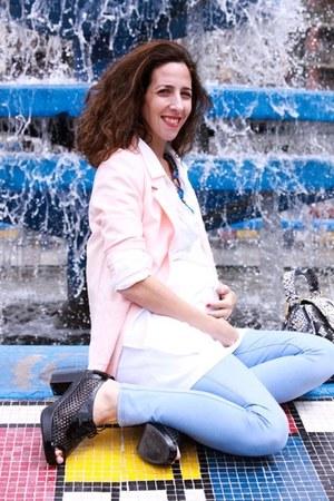 black mishka heels - periwinkle maternity Topshop jeans - salmon H&M blazer