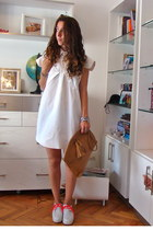 white DIY dress - white creeper DIY boots - bronze NINA PIU bag