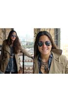 Ray Ban sunglasses - silver snakeskin Zara blouse