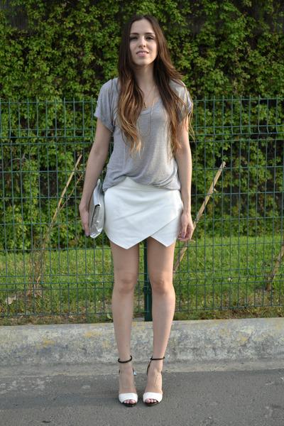 white skort Zara skirt - silver snakeskin Target bag