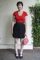 black Nordstrom shoes - ivory Urban Outfitters tights - red thrifted bag - black