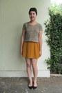 Camel-thrifted-top-mustard-forever-21-skirt-black-aldo-flats