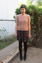 black Forever 21 dress - light pink Nordstrom Rack sweater - black Ross tights