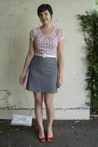 silver thrifted bag - white thrifted belt - heather gray thrifted skirt - red th